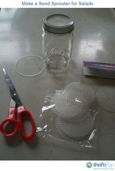 Sprouting jar: pre-cut plastic needlepoint canvas from your local dollar or craft store and cut them to fit the top your Mason jar and screw on with the canning ring. Growing Sprouts, Growing Herbs, Mason Jar Gifts, Mason Jars, Sprouting Seeds, Raw Chicken, Sprout Recipes, Bean Sprouts, Plants