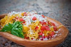 Microwave Spaghetti Squash with Tomatoes & Basil
