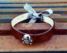 Pirate Choker Brown Leather Necklace Steampunk by CrazedLemming