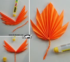 autumn leaves of paper Kids Crafts, Leaf Crafts, Diy Arts And Crafts, Crafts To Do, Preschool Crafts, Fall Crafts, Halloween Crafts, Diy Flowers, Paper Flowers