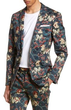 Beautiful Topman Skinny Fit Japan Print Suit Jacket Mens Fashion clothing from top store Fashion Mode, Dope Fashion, Suit Fashion, Fashion Brand, Style Fashion, Mens Suit Stores, Mens Suits, Floral Suit Men, Dressy Outfits