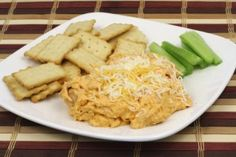 Buffalo chicken dip is one of the most popular appetizers served at parties. Make this recipe from fresh rotisserie or canned chicken! Pureed Food Recipes, Diet Recipes, Cooking Recipes, Healthy Recipes, Atkins Recipes, Recipies, Diet Tips, Healthy Foods, Crockpot Recipes