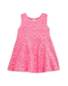 Amy Coe Infant Girls' Diamond Lace Dress - Sizes 12-24 Months   Polyester; lining: rayon/spandex   Machine wash   Imported   Fits true to size   Round banded neck, sleeveless, front and back princess