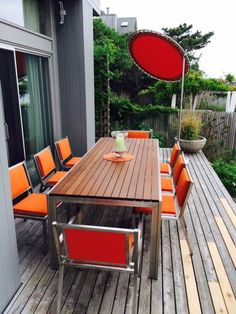 Modernica Case Study Stainless Chairs, Table and Sun Shade   http://modernica.net/outdoor/
