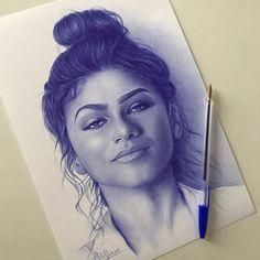 Face Pencil Drawing, Realistic Pencil Drawings, Realistic Paintings, Pen Drawings, Pen Sketch, Art Sketches, Ballpoint Pen Drawing, Art Diary, T Art