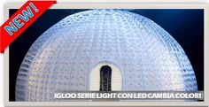 igloo gonfiabile con illuminazione a led