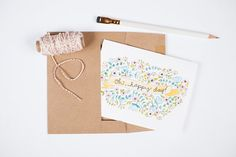 Oh Happy Day Greeting Card with Kraft Envelope  by maehandmade