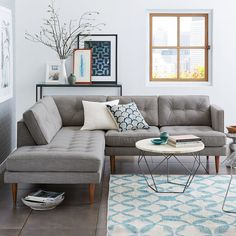 Peggy Mid-Century Terminal Chaise Sectional - Feather Gray (Heathered Crosshatch)