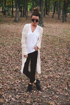 Cozy and comfy, boho casual. Loving the ankle boots and long knit.