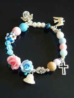 Life of the Virgin Mary Bracelet by NinaShopStore on Etsy White Beads, Blue Beads, Catholic Christening, Three Roses, Queen Of Heaven, Water Into Wine, Rosary Bracelet, Virgin Mary, Beautiful Roses
