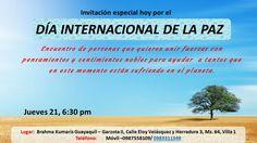Por el día internacional de la paz en Brahma Kumaris Guayaquil el jueves 21 de septiembre a las 18h30 se desarrollará un encuentro de personas que quieren unir fuezas y pensamientos nobles para ayudar a tantos que están sufriendo en el planeta. Garzota II Mz 64 VIlla 1.