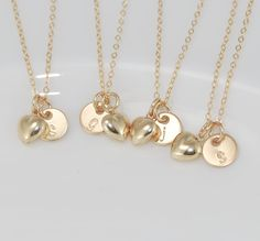 Bridesmaids gifts Initial charm necklace $28.00