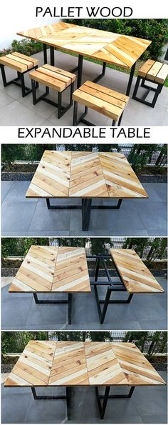 Here's my original design for an industrial-style expandable outdoor table with matching stools, made out of reclaimed pallets and dimensional lumber. #ReclaimedFurniture #PalletProject