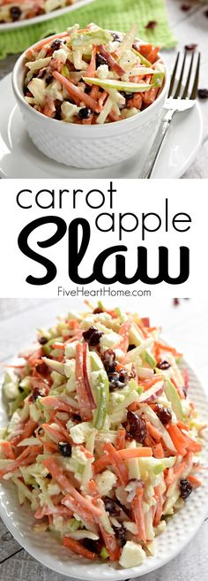 Carrot Apple Slaw ~ crunchy carrots, sweet & tart apples, dried cranberries, salty feta cheese, + a creamy dressing. This salad is a refreshingly sweet and savory side dish Carrot Slaw, Apple Slaw, Apple Coleslaw, Carrot Salad With Raisins, Green Apple Salad, Vegetarian Recipes, Cooking Recipes, Healthy Recipes, Vegan Meals