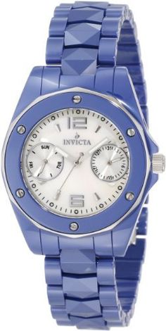Invicta Women's 0986 Ceramic Mother-Of-Pearl Dial Blue Ceramic Watch Invicta. $123.99. Flame-fusion crystal; blue ceramic case with stainless steel back; blue ceramic bracelet. Swiss quartz movement. Water-resistant to 100 M (330 feet). Day and date silver tone subdials. White Mother-Of-Pearl dial with silver tone hands, hour markers and arabic numerals at 12:00 and 6:00; luminous; screw-down stainless steel crown