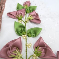 These are easy yet profitable DIY crafts anyone can make and sell for . Ribbon Flower Tutorial, Ribbon Embroidery Tutorial, Hand Embroidery Dress, Floral Embroidery Patterns, Silk Ribbon Embroidery, Ribbon Art, Fabric Ribbon, Ribbon Crafts, Fabric Flowers