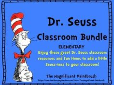 """This is a PDF File that includes the following Dr. Seuss themed items to decorate your classroom. Add some fun Seuss-ness to your classroom today!-Dr. Seuss Quote Display Posters/Cards 8X10""""-Name Tags to be used on desks (blank)-Classroom Jobs Cards with Dr."""