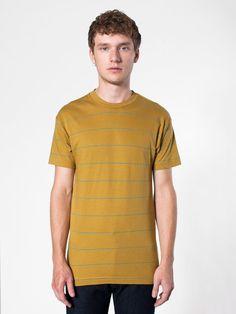 【ピンストライプジャージーショートスリーブTシャツ】定番人気のショートスリーブクルーネックTシャツのストライプバー…