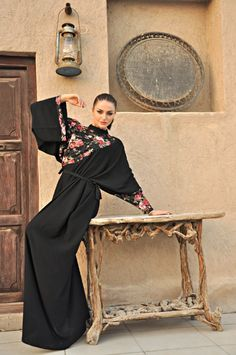 New Jojo abaya, French touch in Arab dress ! See it at www.facebook.com/...