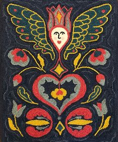 Folk Angel Fraktur punch needle pattern on monk's cloth, rug hooking p – Midnight Creative Punch Needle Kits, Punch Needle Patterns, Pattern Drawing, Pattern Paper, Paper Patterns, Primitive Colors, Monks Cloth, Rug Hooking Patterns, Pennsylvania Dutch