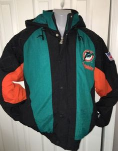 Mens Miami Dolphins Starter Official NFL Football Hooded Puffer Jacket L Large