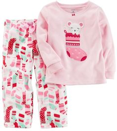 30edd1cc7 Carter's Girls 4-14 Mouse Stocking Top & Print Pants Pajama Set Toddler  Girls