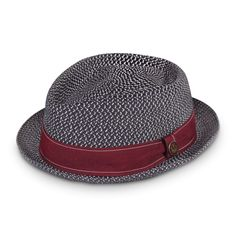 Guillermo Straw Pork Pie Hat | Goorin Bros. Hat Shop  I like the black and white color of the hat and the maroon color of the ribbon. Visually interesting
