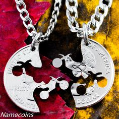Dirtbike necklace motocross couples Guys jewelry by NameCoins