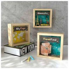 Travel Box, Travel Fund, Diy Birthday, Birthday Gifts, 3d Frames, Diy Y Manualidades, Wood Wall Decor, Money Box, Home Decor Inspiration