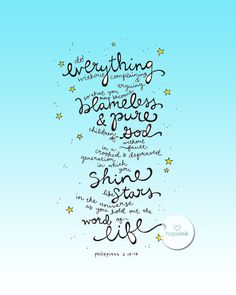 Scripture Art Print Shine Like Stars Philippians 2 Hand by hopeink, $24.00