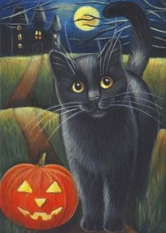Black Cat Halloween Acrylic Painting. Marta Oktaba