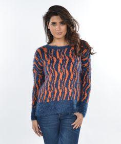 CA1235 Blue Orange  Sweater 2-2-2