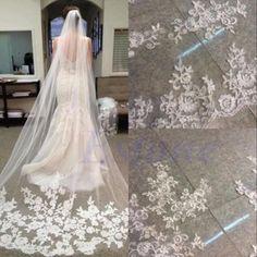 1 Camada Branco Catedral Comprimento borda do laço Noiva Casamento longo véu De Noiva + Pente