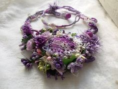 Purple floral necklace... mori girl necklace vintage shabby | Etsy Floral Necklace, Crochet Necklace, Beaded Necklace, Flower Ornaments, Girls Necklaces, Organza Gift Bags, Mori Girl, Vintage Shabby Chic, Beaded Lace