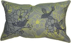 The Lark Toss Cushion – Grey/Yellow from Urban Barn - social birds encouraging harmonious relationships while flowers support growth