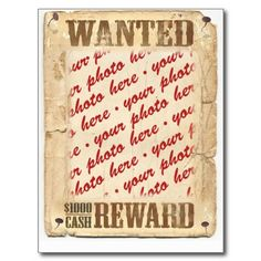 sold ! WANTED Poster Photo Frame Post Card by #Frames4you  shipping to Canton, NY