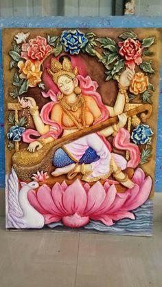 Tanjore Painting, Krishna Painting, 3d Art Painting, Art Club Projects, Contemporary Decorative Art, Indian Folk Art, Thai Art, Marble Art, Mural Wall Art