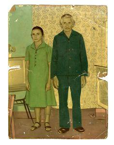 Greens - handpainted brazillian vernacular photograph from rosegallery.net - retratos pintados. titus riedl's collection