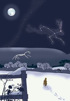 """Hare looking at the Lepus Constellation, during a full winter moon over Uffington Hill Figure"" by Dru Marland Winter Moon, Winter Art, Winter Night, Hare Illustration, Watership Down, Rabbit Art, Bunny Art, Stars And Moon, Amazing Art"