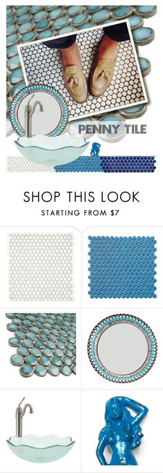 """""""Home Trend: Penny Tiles"""" by sharmarie ❤ liked on Polyvore featuring interior, interiors, interior design, home, home decor, interior decorating, Merola, bathroom and contemporary"""