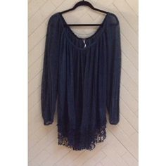Free People Slip Away Pullover Dress Adorable Free People slip dress. Can also work as a tunic. Unlined. Shirred neckline. Fringe-like lace hem. Gauzy-like fabric. Color best represented in the picture with the tag. Sized as a medium, but could also fit a large. In great condition. No rips or stains. ❌No Trades❌ Free People Dresses