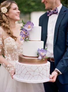 Metallic Geometric Wedding Cake with Sugar Flowers