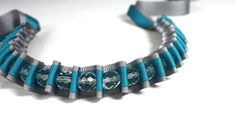 Turquoise and Grey Pleated Ribbon and Crystal Necklace