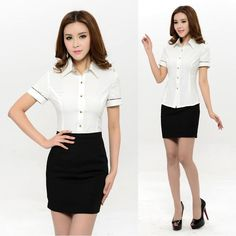 New 2015 Summer Formal Women Skirt Suits Two Piece Skirt and Blouse Sets Short Sleeve Ladies Office Uniform Styles Office Outfits, Office Uniform, Office Attire, Office Blouse, Corporate Attire, Uniform Design, Skirt Suit, Simple Outfits, Casual Chic