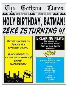 Batman Comic Book Style Superhero Newspaper by SmashCakeandCo