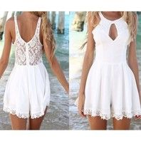 Fashion cut out lace playsuit Jumpsuits