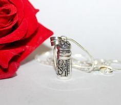 Perfume Bottle, Sterling Silver Perfume Bottle Necklace, Sterling Silver Perfume or Message Container, Oil Bottle, Perfume Vial