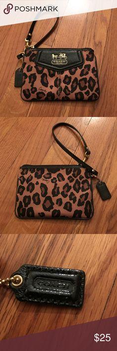 Authentic Coach Wristlet Leopard! Cute & rare! Authentic Coach leopard wristlet. Only used twice. Coach Bags Clutches & Wristlets