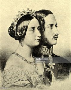 Queen Victoria and Prince Albert. Portraits in profile.