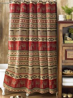 Bathroom ideas on pinterest shower curtains rustic for Adirondack bathroom design